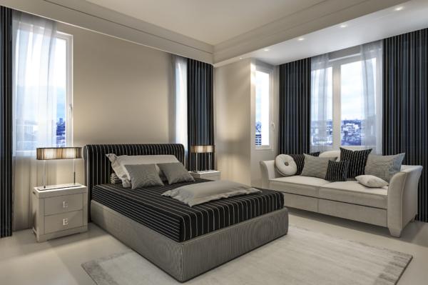 rendering interni camera letto