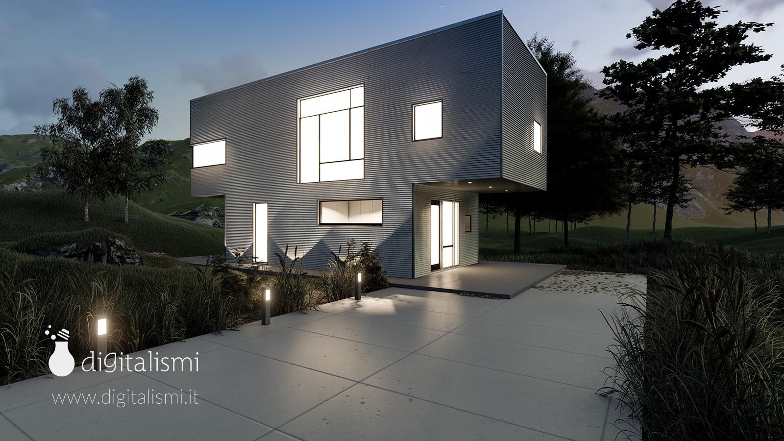 rendering 3d architettura esterni illuminazione notturna