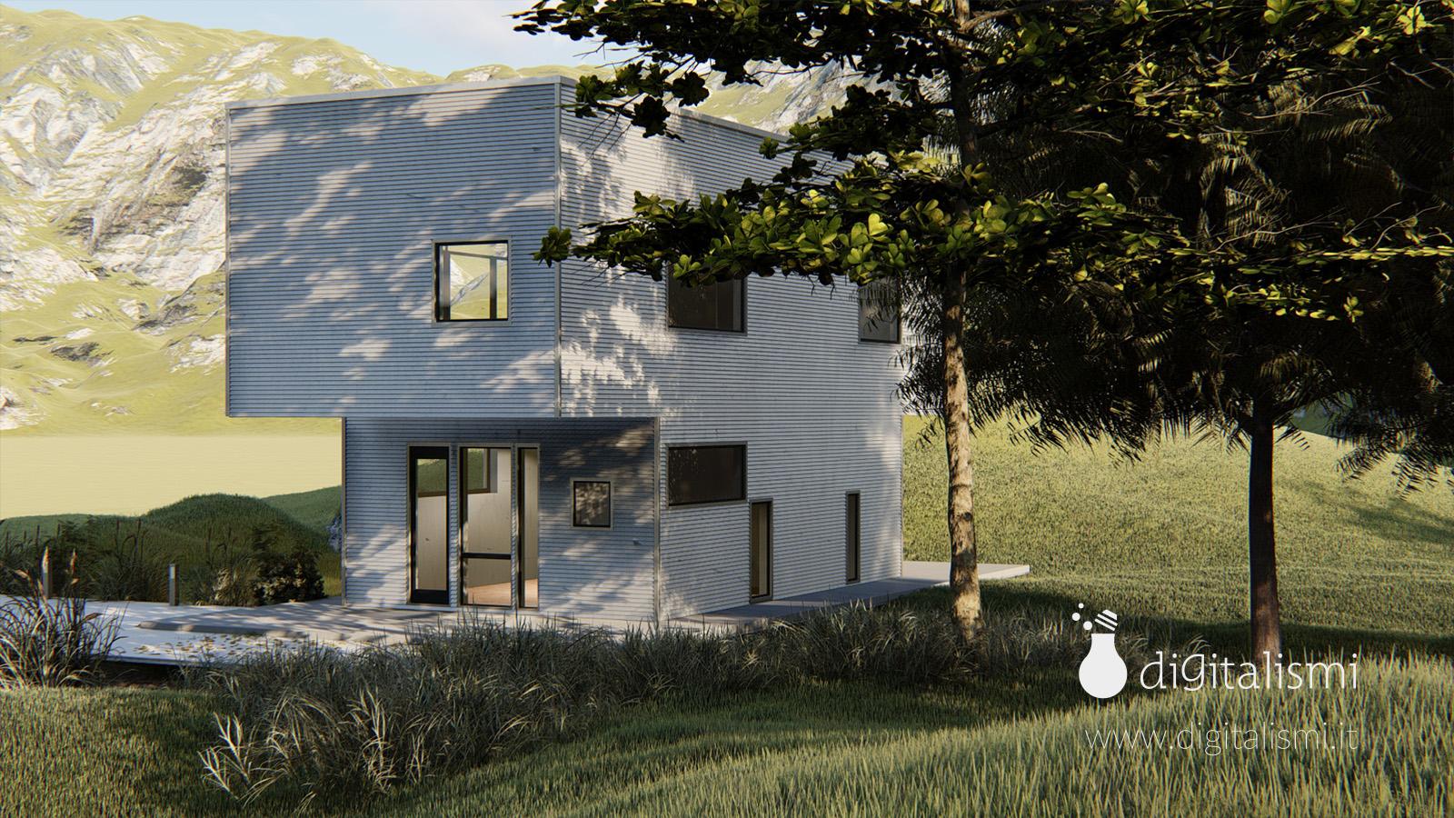 rendering 3d esterni edificio unifamiliare