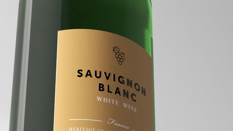 rendering bottiglia di vino