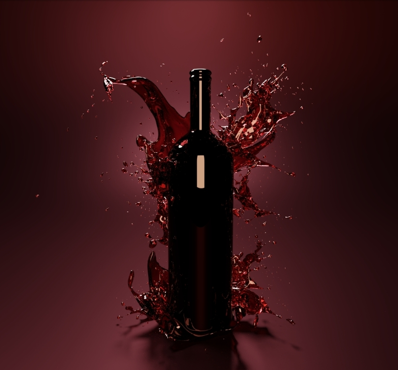 rendering bottiglia vino effetti